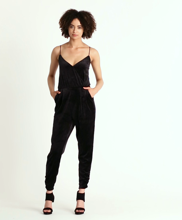 0b1825f4ed45 Pitch Black Velour Sleeveless Jumpsuit - Women. Play product video